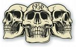 Vintage Biker 3 Gothic Skulls Year Dated Skull 1950 Cafe Racer Helmet Vinyl Car Sticker 120x70mm